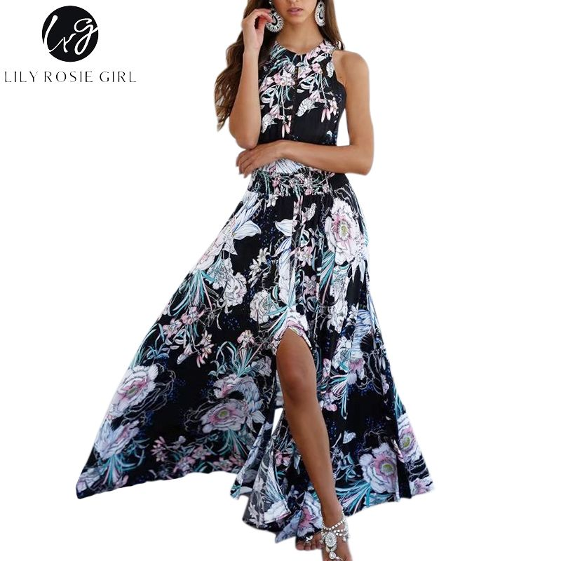 Lily Rosie Girl Women 2017 Black Off Shoulder Floral Summer Beach Party Dress Hollow Out Halter Boho Style Maxi Dresses Vestidos