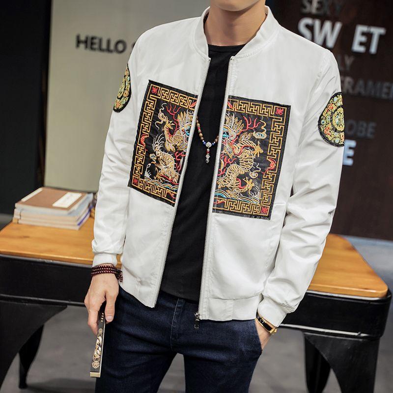 Spring Autumn Bomber Jacket Men 2018 New Fashion Chinese Long Pao Jackets Men Slim Fit Casual Mens Coats Windbreaker 5XL-M Sale