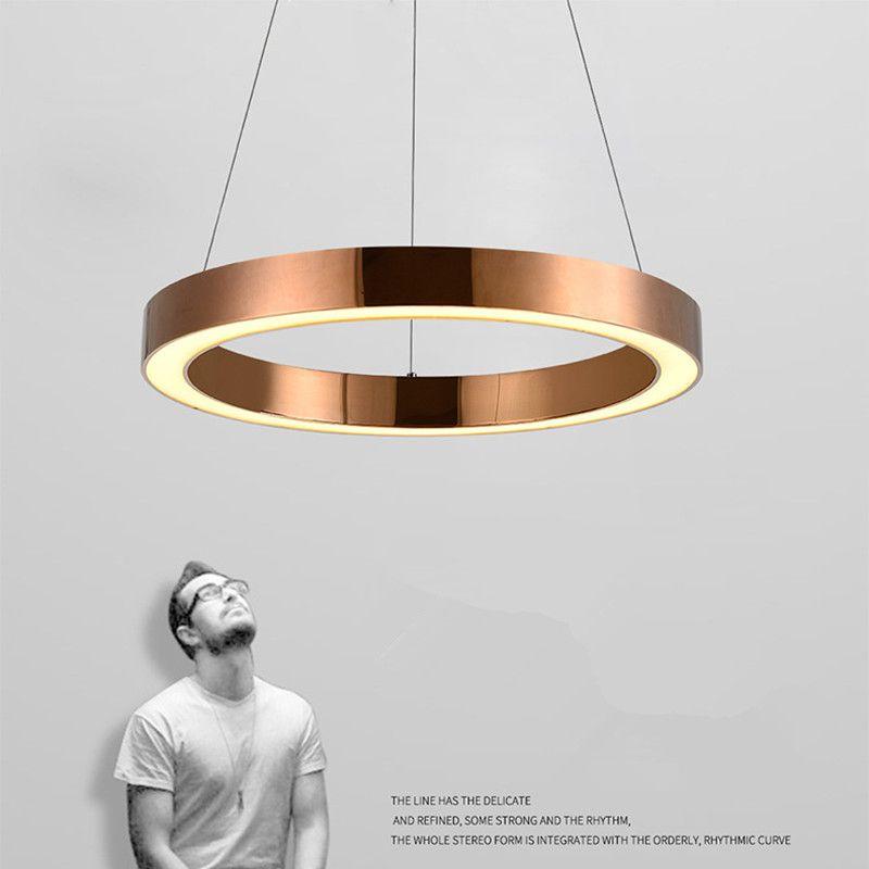 Moderne Nordic Rose Gold Restaurant LED Anhänger Lichter Kreis Ring Suspension Leuchte Esszimmer Lichter Kostenloser Versand