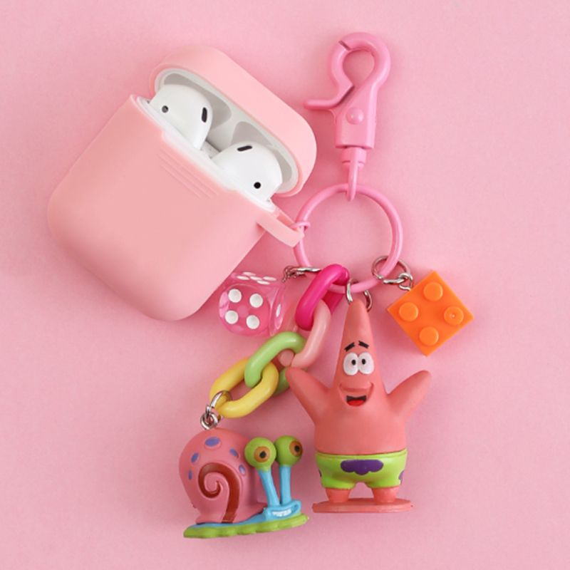 Cartoon Decorative Silicone Case for Apple Airpods Bluetooth Earphone Accessories Cute Headset Protective Cover Hook Key Ring