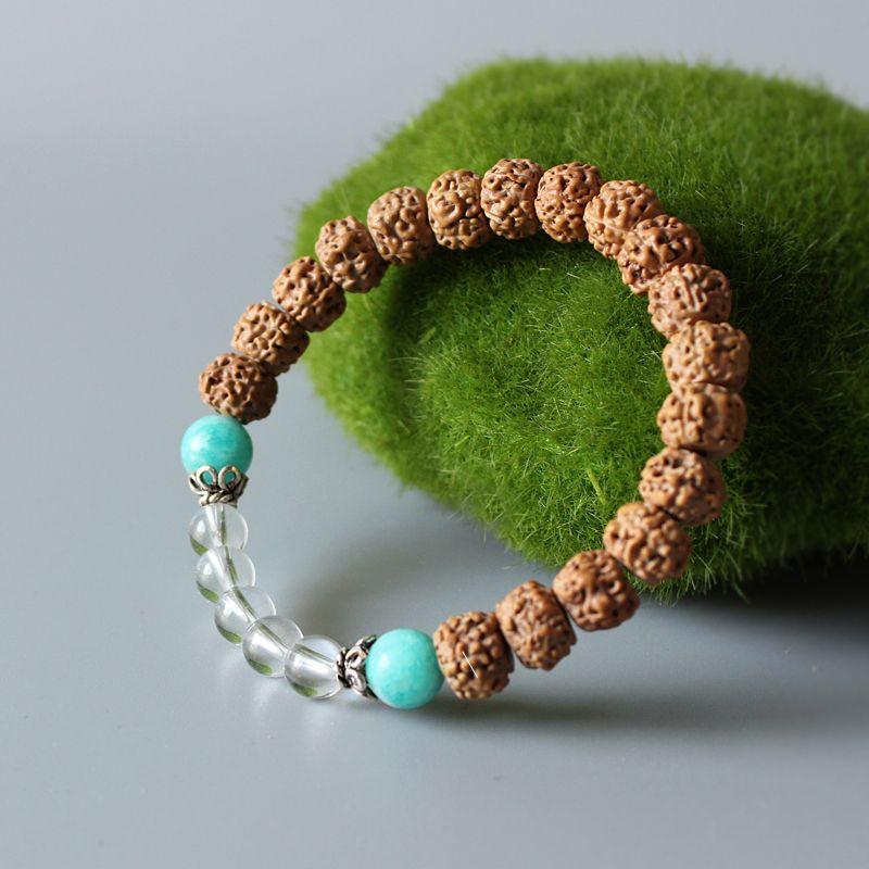 Gros tibétain Zen bouddhisme Rudraksha Mala perles Bracelet extensible pour les femmes Unique Yoga méditation bois perlé Chakra bijoux