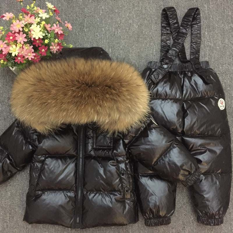 Russian Winter Down Suit Super Warm Children Winter Suits Boys Girl Duck Down Jacket+overalls 2 Pcs Clothing Set Kids Snow Wear
