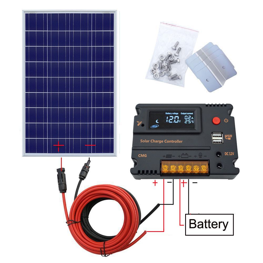 120 W 12 V Solar Panel Kit poly Modul w/20A Lade Controller RV Camp off grid