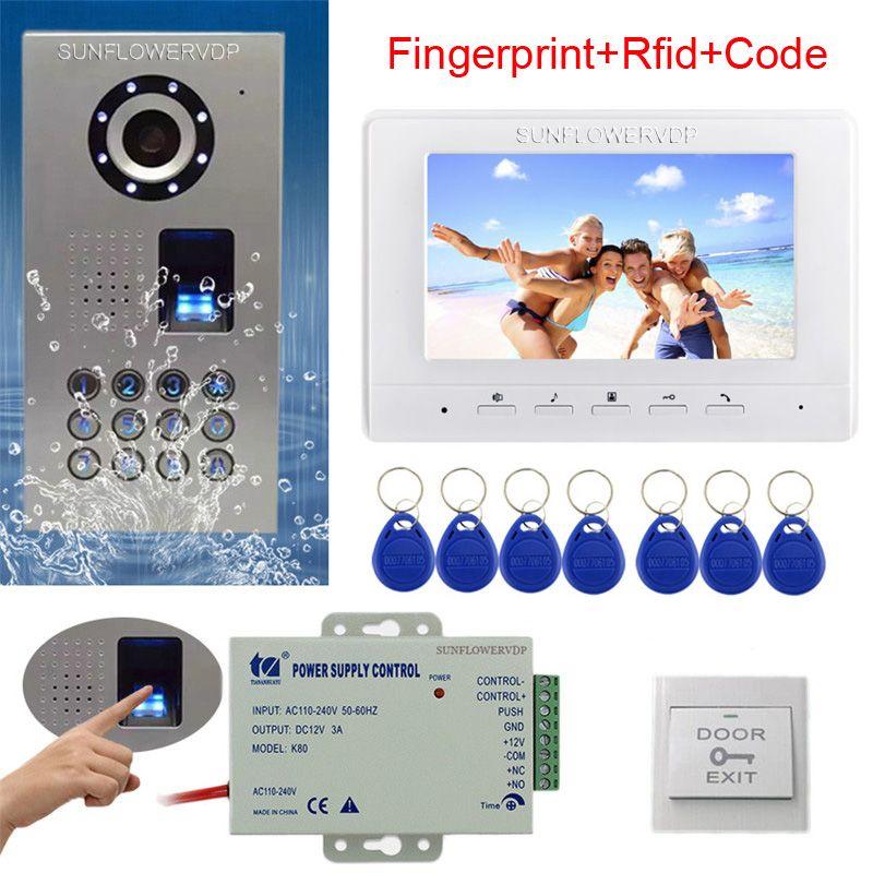 Rfid Keyboard Video Intercom Fingerprint Home Video Door Phone IP65 Waterproof CCD Camera Color Monitor 7