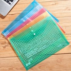 1 pcs Waterproof A4 File Bag Clear Grid Button PVC File Bag Folder Office Stationery