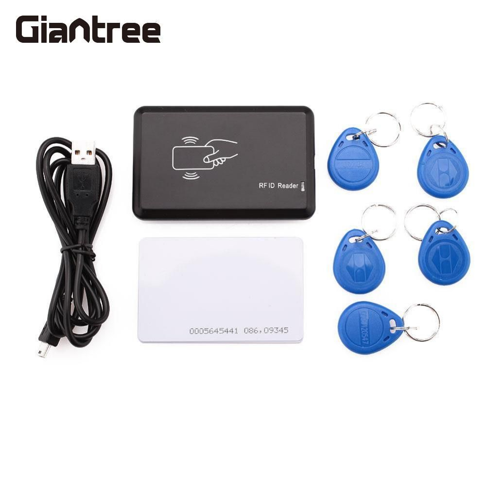 Giantree 125MHz RFID Card Reader EM4100 Format ID Card/ IC Card Reader for Mifare with 5 Writable KeyTags For Access Control