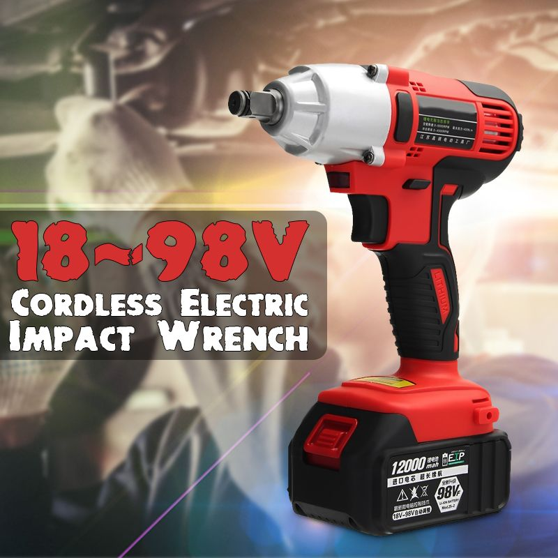 AC 100-240V 400Nm Electric Impact Wrench 12000mah Lithium-Ion Cordless Impact Wrench 2 Batteries 1 Charger Power Tool