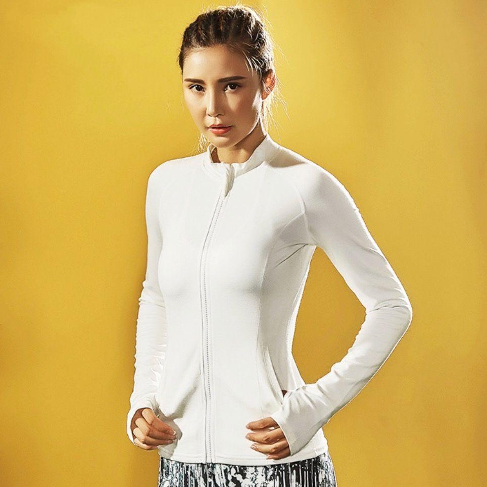 EF Fitness Kleidung Frauen Tops Yoga Sport Jacke Frauen Laufen Jacke Sportbekleidung Training Reißverschluss Daumenloch Sportsshirt