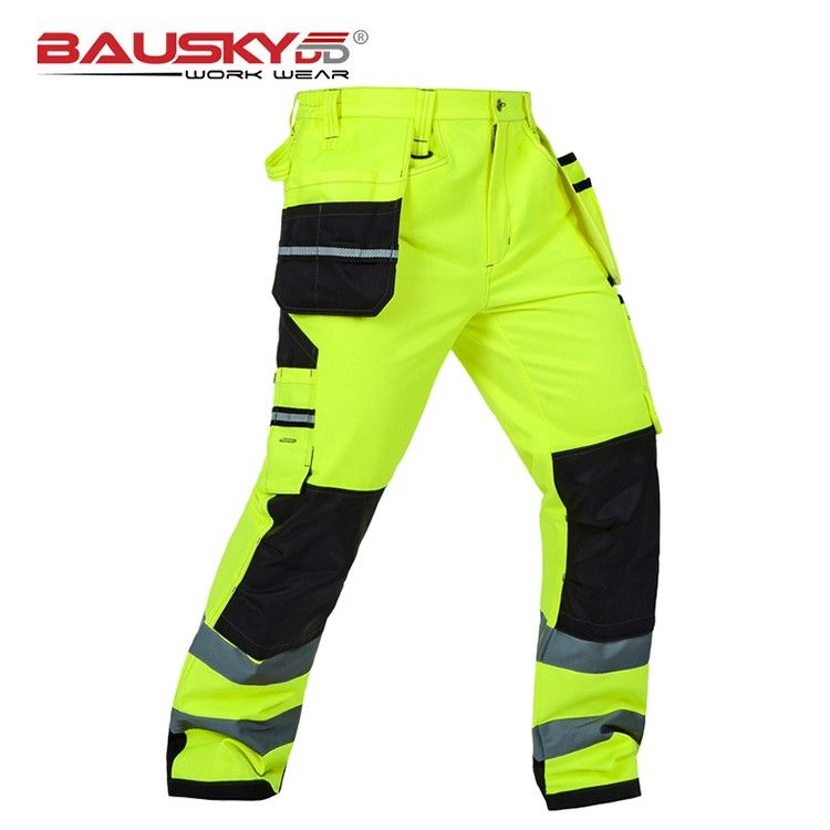 Bauskydd Mens Male Durable workwear multi-pocket reflective trousers with knee pads for work safety working pants free shipping