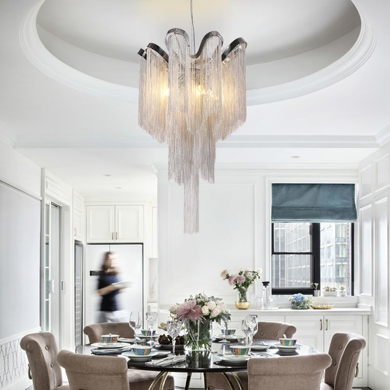 Modern Vintage Lamp Aluminum Chain Chandelier Lighting Luxury Pendant Hanging Light for Home Hotel Restaurant Decoration