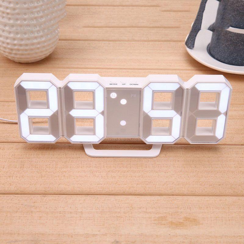 Digital LED Table Clock <font><b>Brightness</b></font> Adjustable Modern Electronic Alarm Clock Fashion Wall Hanging Clock with USB Cable