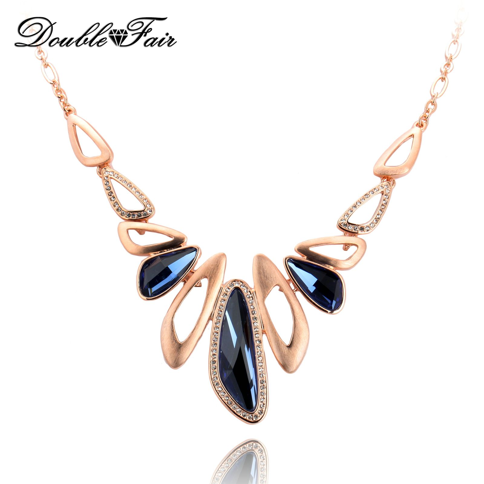 Luxury Blue Crystal Vintage Choker Necklaces & Pendants Fashion Brand Rhinestone Statement Jewelry For Women Accessiories DFN571