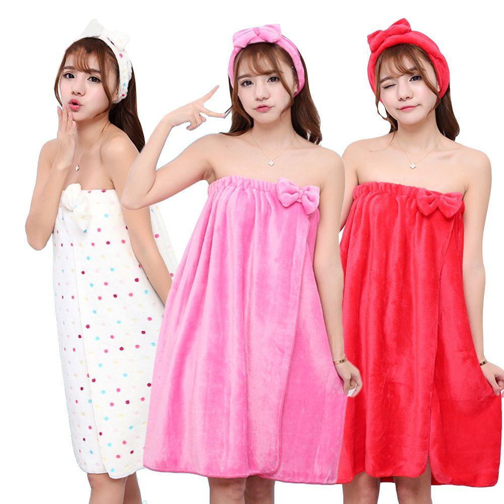 Serviette Super absorbante Sexy mignon arc Wrap flanelle chemise de nuit jupe soutien-gorge serviette de bain microfibre serviette dame bandeau ensemble pour adultes