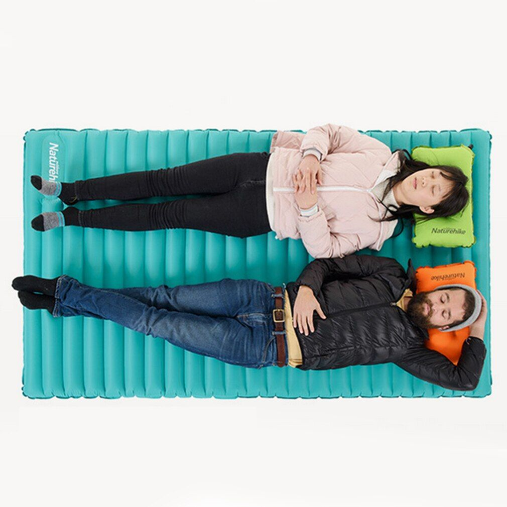 Double Inflatable Sleeping Pad Outdoor Camping Small Packed Size Lightweight Moldable Inflate And Deflate Easy Storage