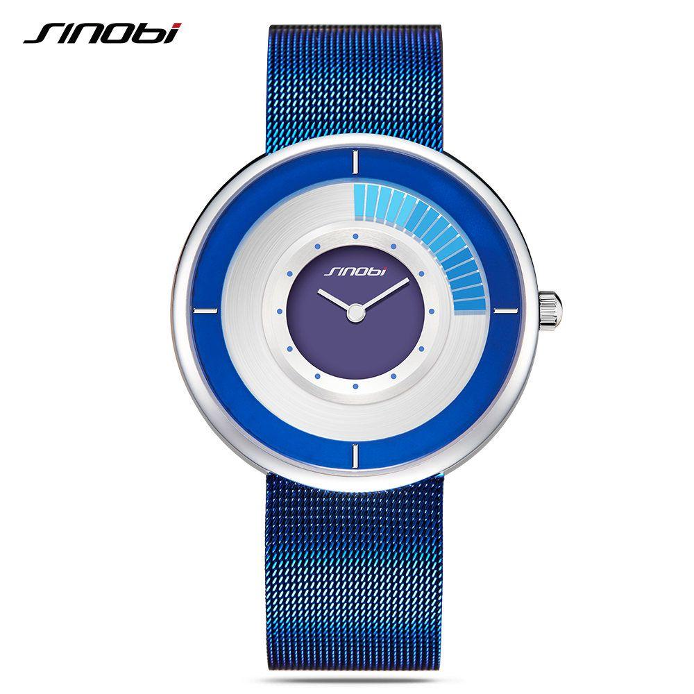 Sinobi ultrafino dial mens relojes Top marca de malla Correa reloj girar creativo moda masculina reloj de cuarzo Relogio Masculino