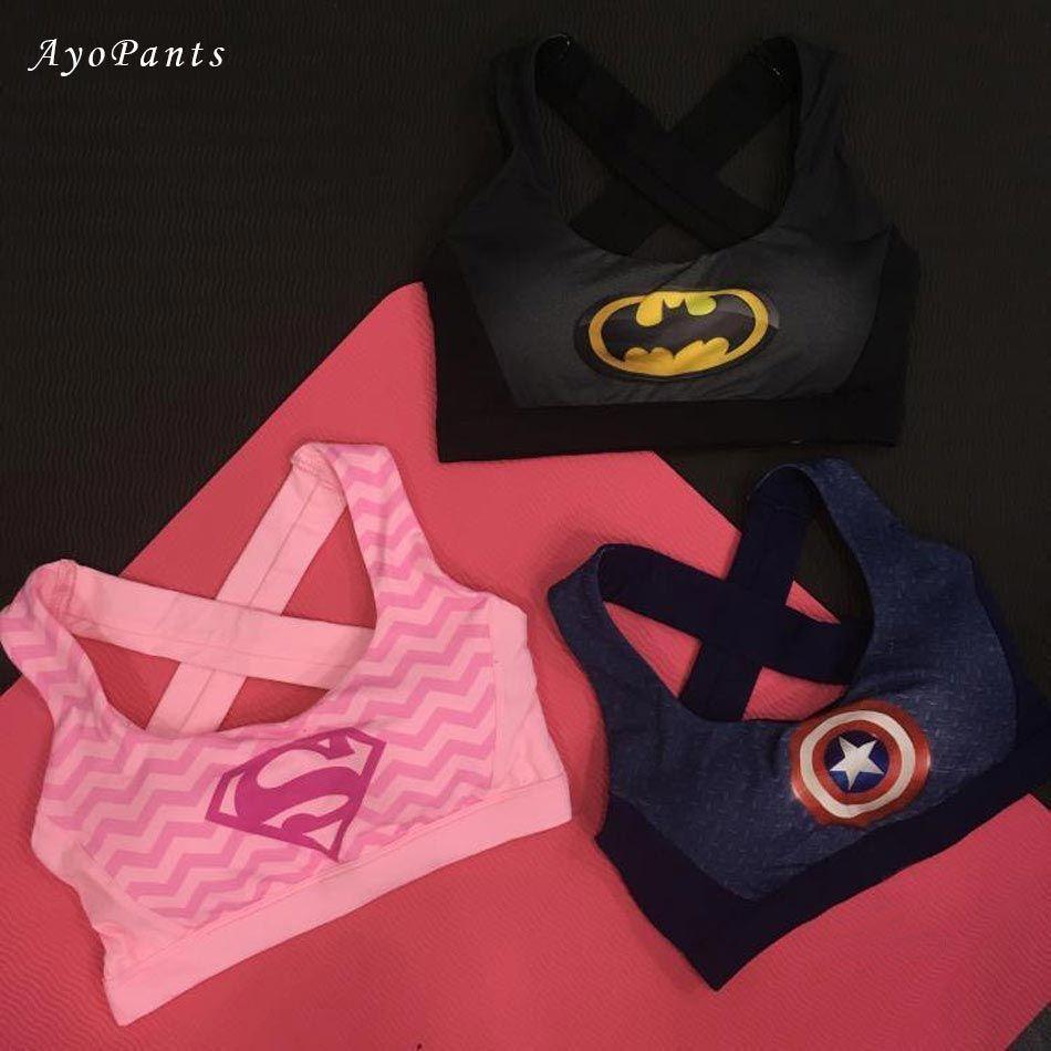Ударопрочный Для женщин эластичные Супергерл спортивный бюстгальтер в розовый Рубашки для мальчиков Супермен Для женщин Бег Нижнее Бельё ...