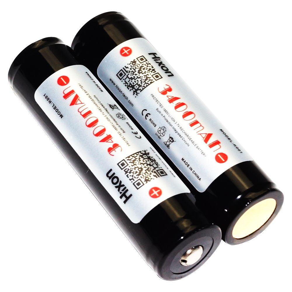 Hixon 2 pcs 3400 mah 18650 Batterie Protégée 3.7 v Rechargeable Au Lithium Ion Batterie pour lampes de Poche Torche (Panasonic NCR18650 cellulaire)