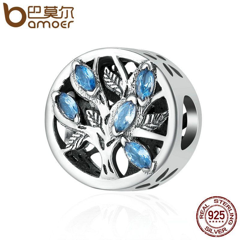 BAMOER Heißer Verkauf Echtem 925 Sterling Silber Baum des Lebens Perlen, licht Blau Cubic Zirkon Perlen fit Charme Armband Schmuck SCC245