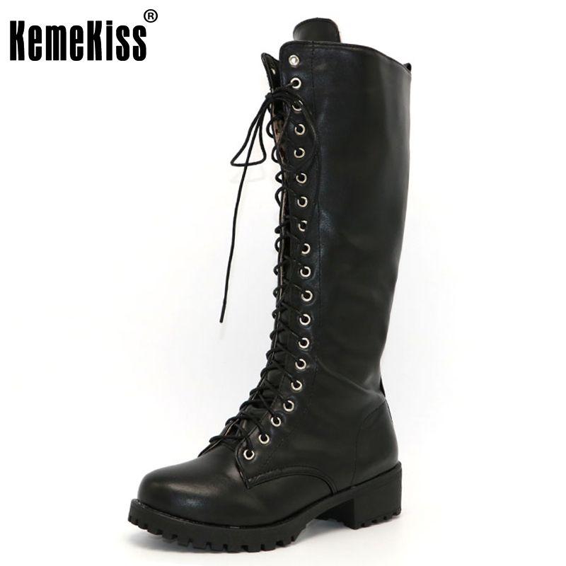 KemeKiss Nouveau Designer Femmes Carré Bas Talon Équitation Moto Talon Genou Haute Bottes Punk Gothique Plate-Forme Lace Up Chaussures Size34-43