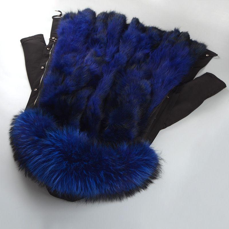 2018 echt Winter frauen Natürlichen Fuchs Pelz Kragen Kappe Parker Dicken Mantel Langarm Großen Größe Frauen Pelz Kleidung