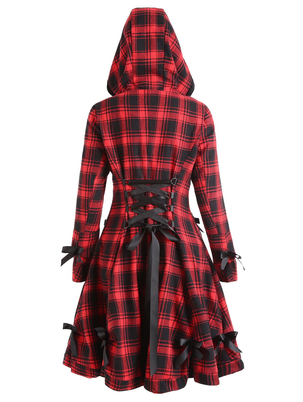 LANGSTAR 2017 Autumn Coat Women Plaid Hooded Button Up Skirted Coat Gothic Bow Lace-Up Long Pocket Women Outerwear <font><b>Trench</b></font> Coats