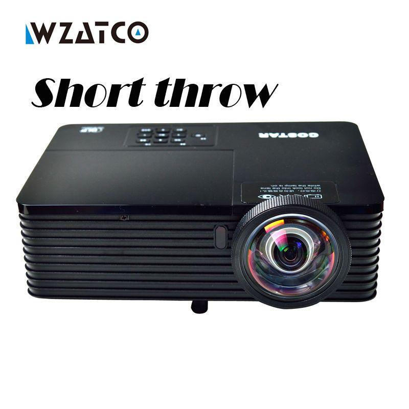 Wzatco 6000 lúmenes reunión de negocios educación día vídeo Full HD 1080 p digital 3D DLP tiro corto proyector