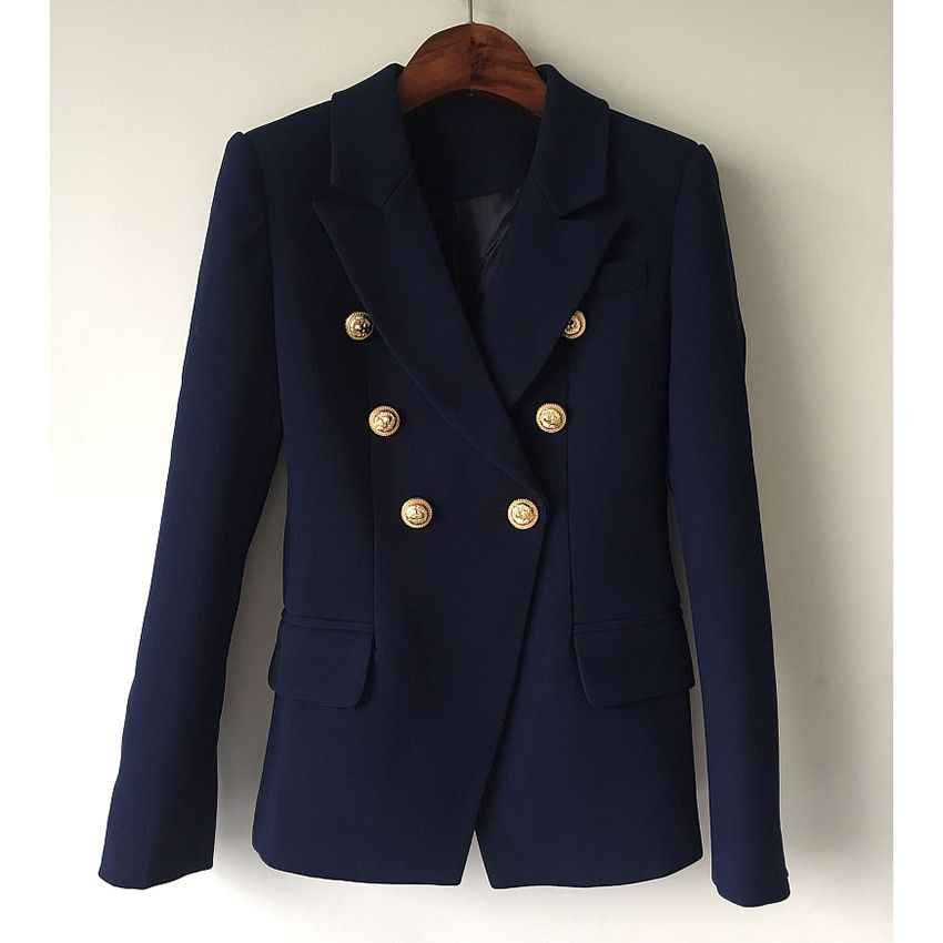 HIGH QUALITY New Fashion 2017 Designer Blazer Jacket Women's Metal Lion Buttons Double Breasted Blazer Outer Coat Size S-XXL