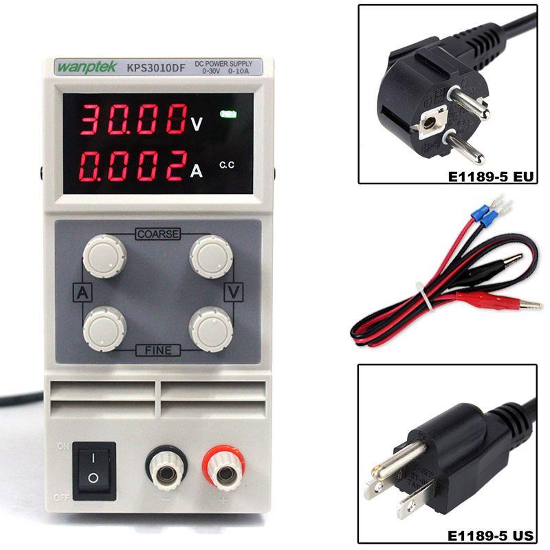 KPS3010DF 0-30V/0-10A 110V-230V 0.01V/0.001A EU LED Digital Adjustable Switch DC Power Supply mA Display 4 Digits