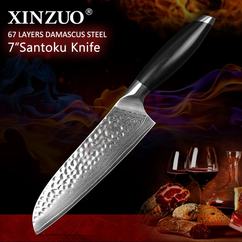 XINZUO 7'' Santoku Knife Stainless Steel Japanese Chef Knife Damascus Steel G10 Handle Creative Designed Cooking Barbecue Knife