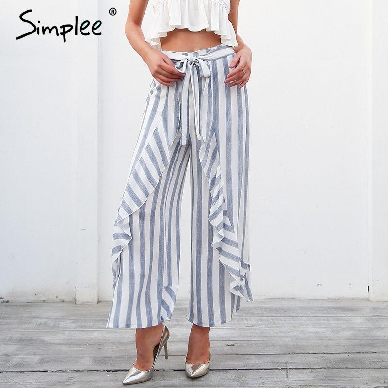Simplee Stripe split <font><b>wide</b></font> leg pants women bottom Sash ruffle high waist trousers Summer beach casual pants female 2018