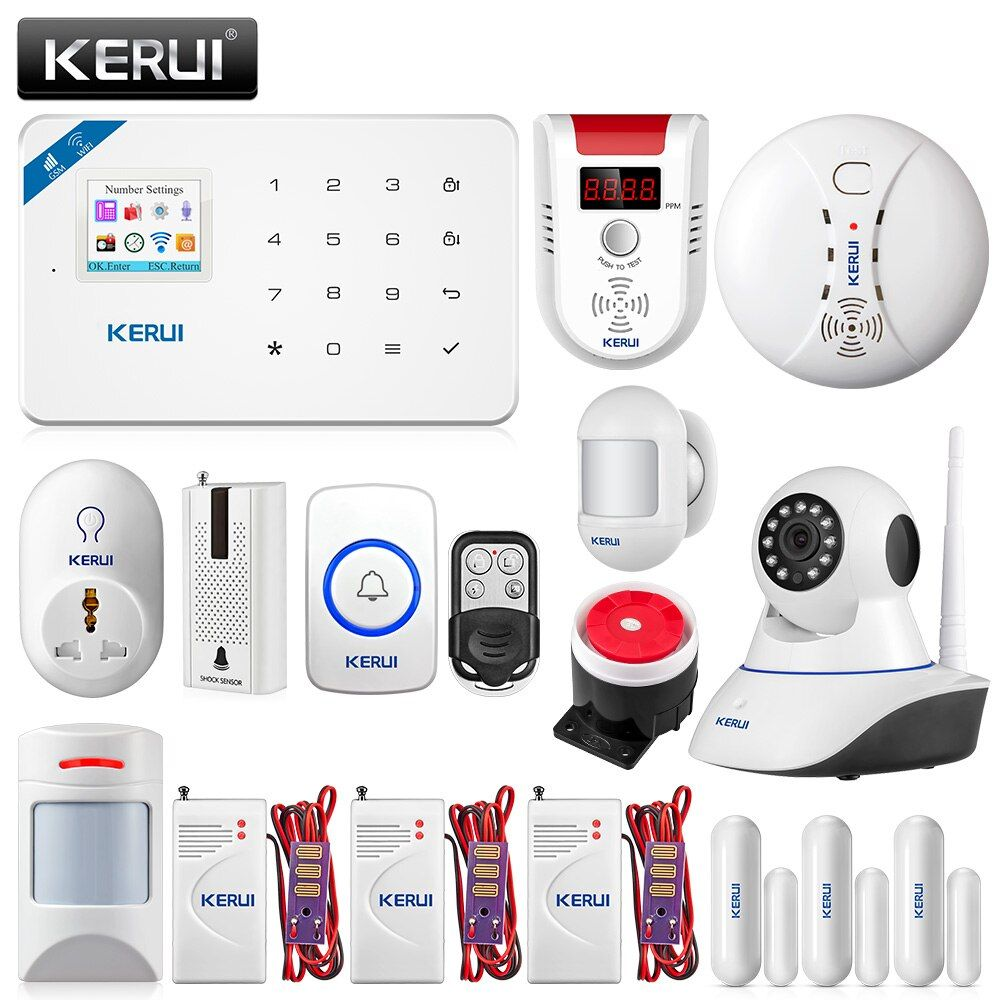 KERUI W18 WIFI GSM Sicherheit Alarm System APP Control Home PIR Motion Feuer Schutz Mit 720 p WIFI IP Kamera