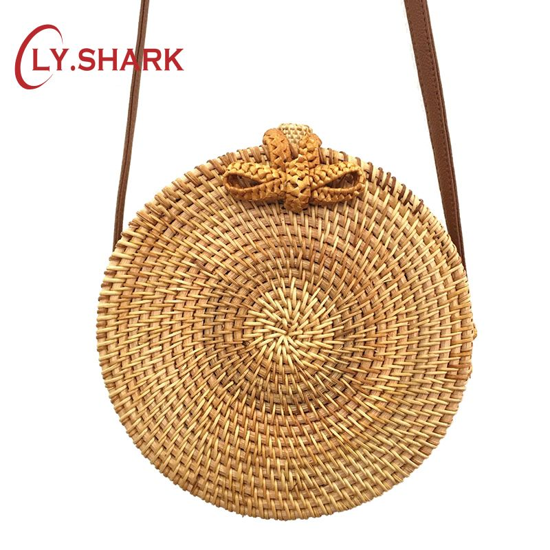 LY.SHARK Women Rattan Handbags Sling Crossbody Bags For Women Straw Handbag Shoulder Bag For Female Women Messenger Bags