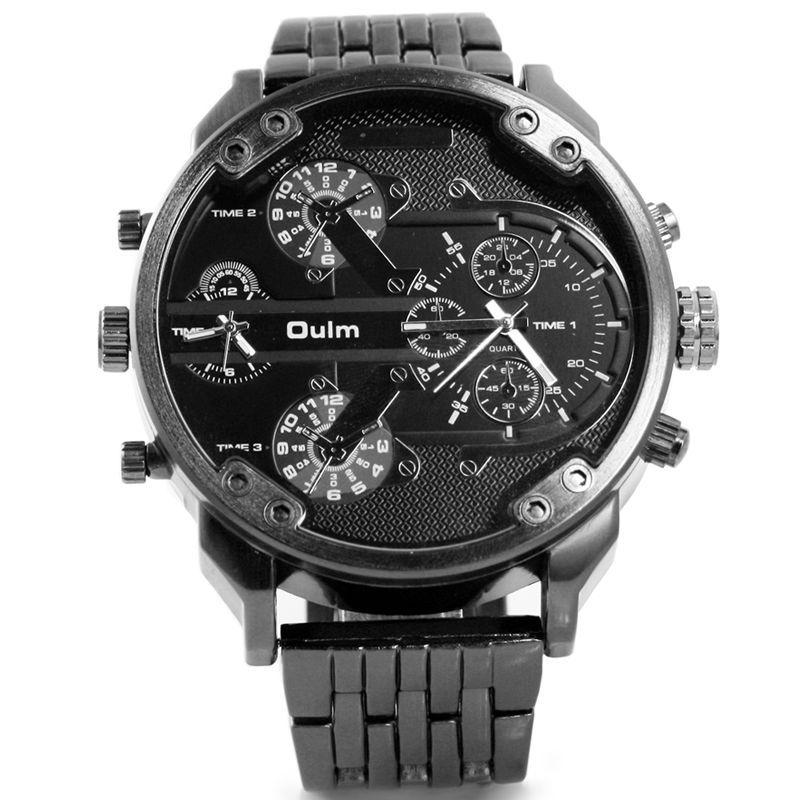 Oulm marque de luxe DZ Style hommes alliage métal montre armée grande taille double temps décontracté montre-bracelet militaire Relogio Masculino