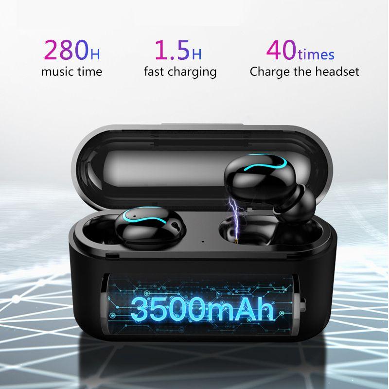 Sans fil Bluetooth 5.0 écouteurs TWS casques Sport musique écouteurs stéréo casque avec 3500 mAh batterie externe pour Xiaomi iphone