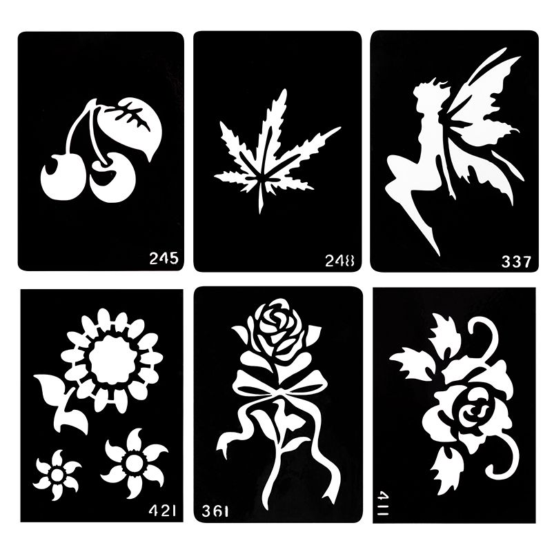 WXS 20 Piece Glitter Tattoo Stencil Neck Tattoos Designs Henna Mixed Designs DIY Paste Hollow Templates For Painting Body Art 09