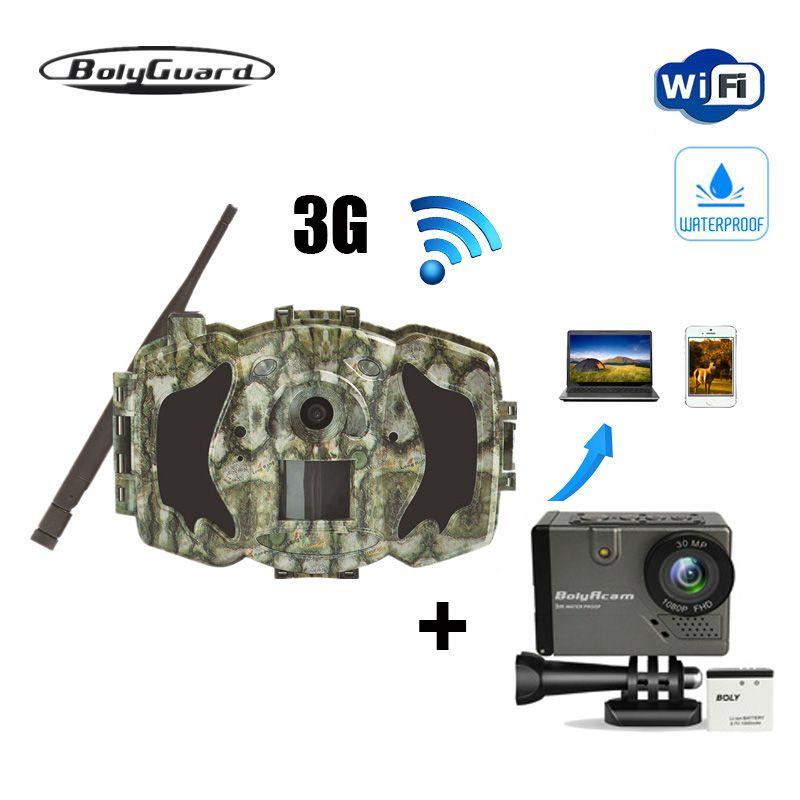 Bolyguard hunting camera 30MP 1080P Trail Camera 3G Wireless GSM phone MMS GPRS thermal imager Photo Trap wild camera and BA101