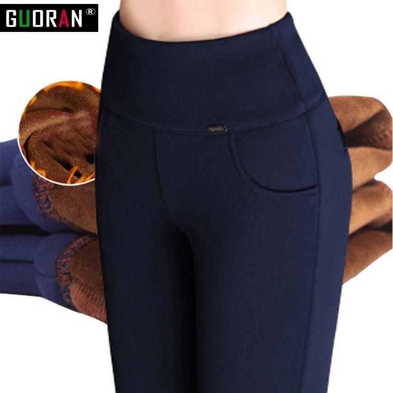 2018 winter warm Women Pencil Pants Candy Color High elasticity Female Skinny pants female <font><b>trousers</b></font> Leggings Plus size S-6XL