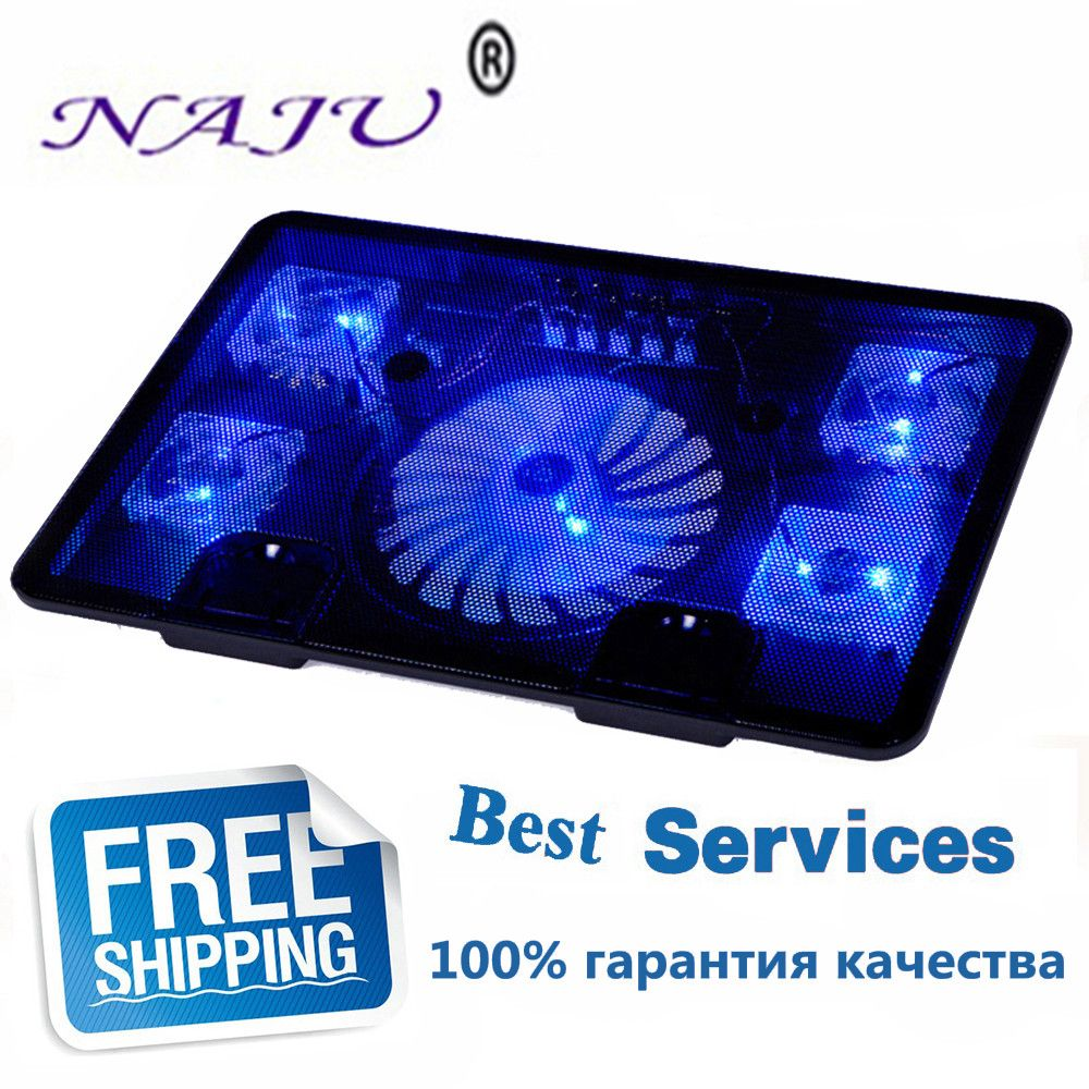 NA JU Brand 5 Fan 2 USB Laptop Cooler Cooling Pad Base LED Notebook Cooler Computer USB Fan Stand For Laptop PC Video 10-17