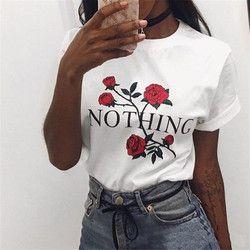 Rien Lettre Imprimer T-shirt Rose Harajuku T-Shirt Femmes 2018 D'été Occasionnels À Manches Courtes T-shirt Blanc Gris Punk Chemises 32785