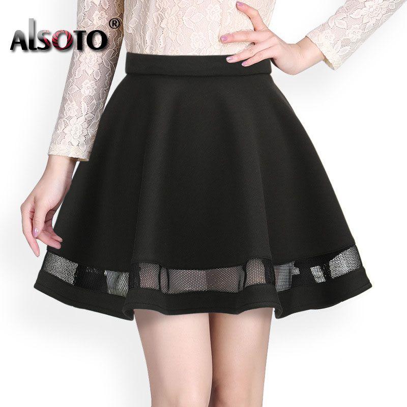Mode de Conception de Grille femmes jupe élastique jupes dames midi jupe Sexy Filles mini jupes Plissées saias Corée vêtements