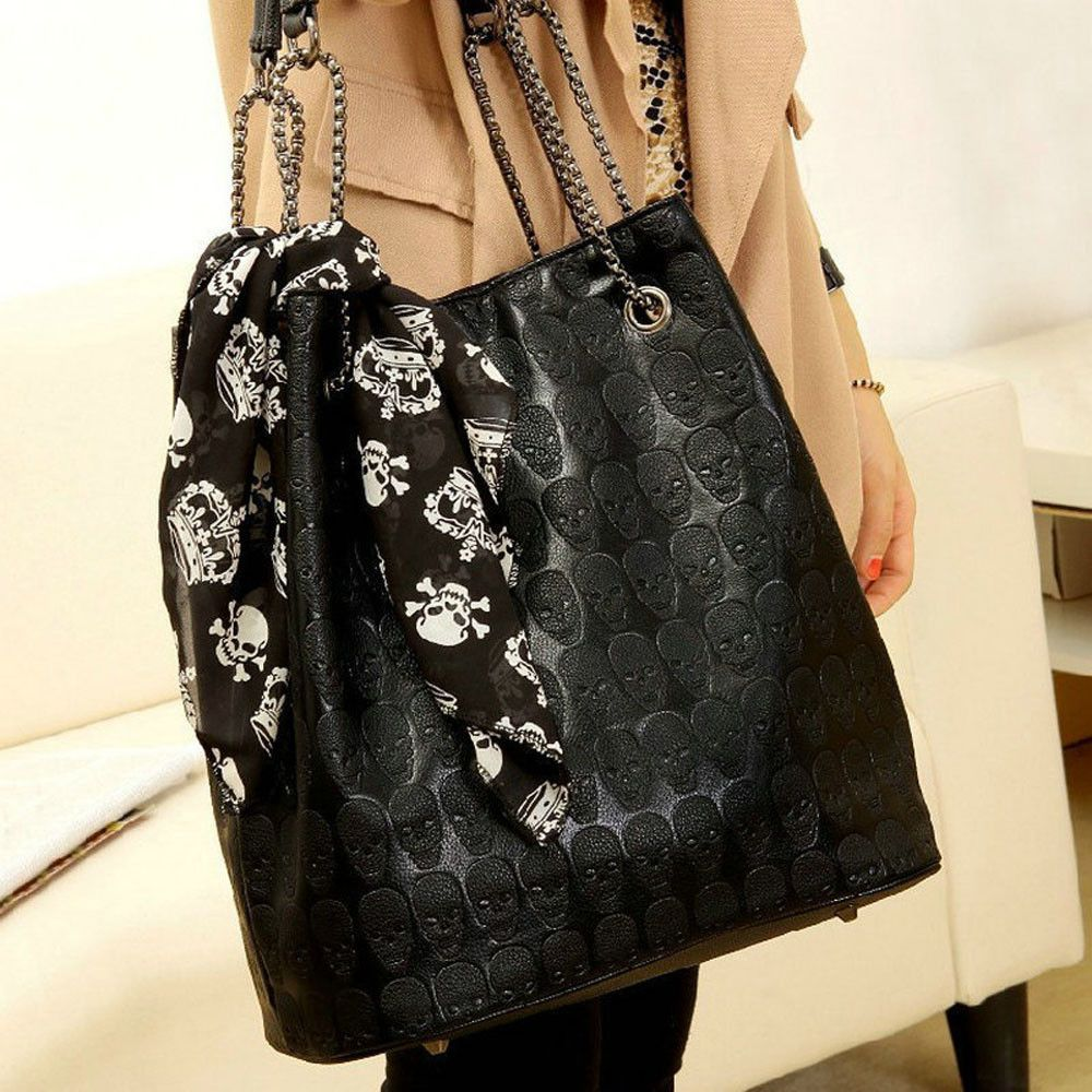 Women Handbag Skull Skeleton Chain Luxury Hangbag Lady Vintage Tote Shoulder Bucket #Z