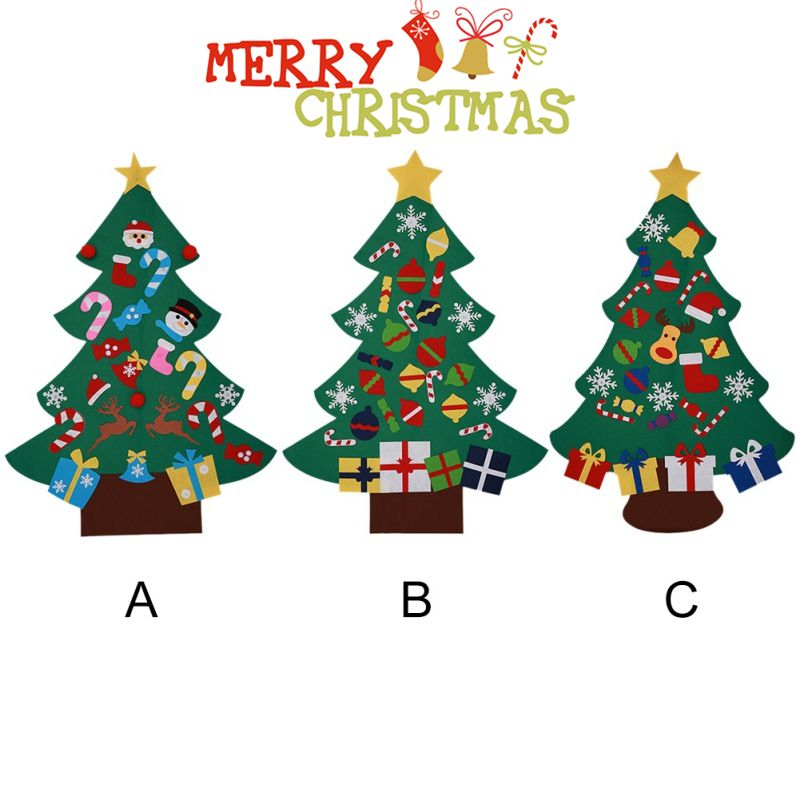 Power Felt Christmas Tree with Lovely Ornaments Door Wall Hanging Decoration New Year Christmas Children Christmas Gifts