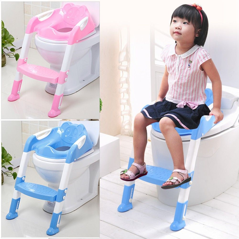Baby Toddler Potty <font><b>Toilet</b></font> Trainer Safety Seat Chair Step with Adjustable Ladder Infant <font><b>Toilet</b></font> Training Non-slip Folding Seat