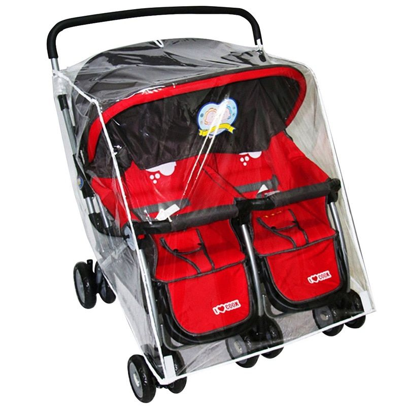 Rain Cover Stroller Protection Waterproof Baby Trolley Twins Stroller Rain Cover Baby <font><b>Carriage</b></font> Double Stroller Accessories
