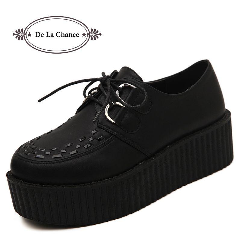 Grande taille 40 printemps automne chaussures plates Vintage femmes Creepers plate-forme chaussures femme Flatform noir daim Creepers pour femmes