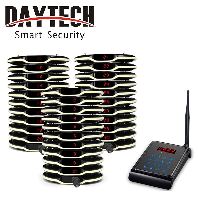 DAYTECH Wieless Call Pager System in Restaurant Guest Coaster Paging 1 Keyboard 30 Transmitter Calling System