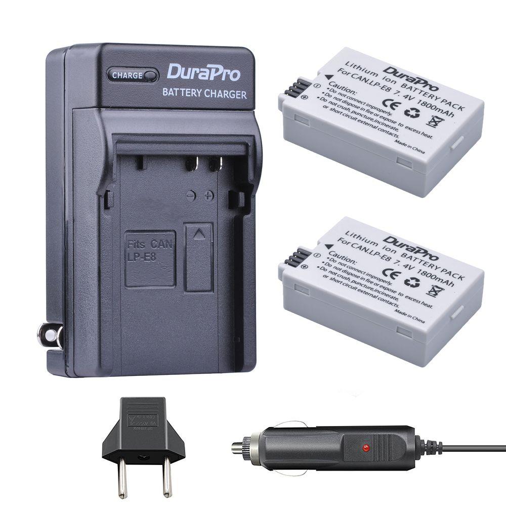 2pc 1800mAh LP-E8 LP E8 LPE8 Rechargeable Li-ion Battery For Canon EOS 550D 600D 650D 700D kiss X4 X5 X6i X7i Rebel T2i T3i T4i