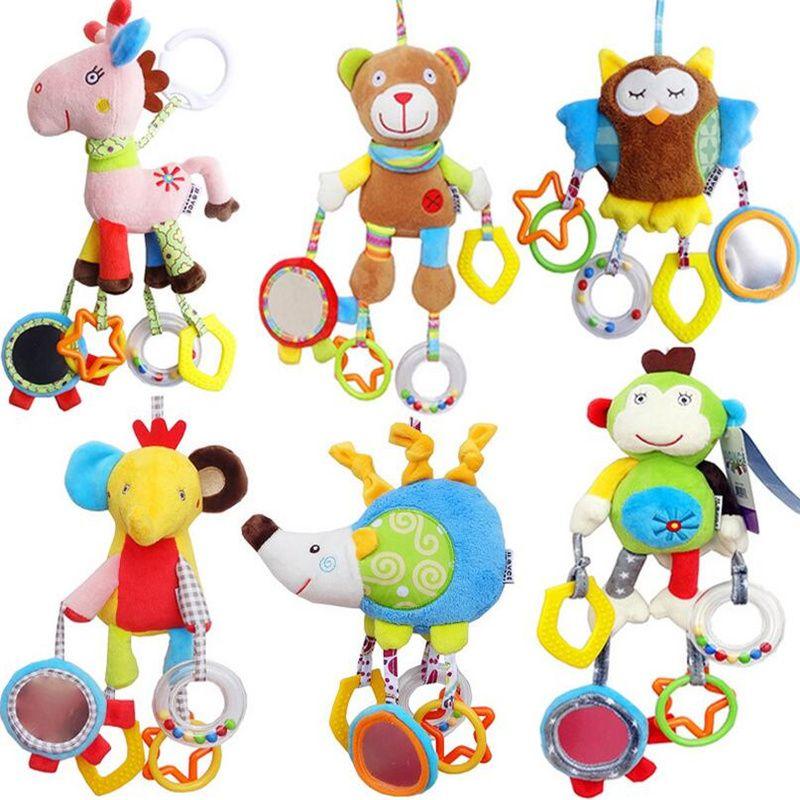 JJOVCE Newborn Baby Boy Girl Cute Cotton Rattles Infant Animal owl bear monkey Hand Bell Kids Plush Toy Development Gifts 40%off