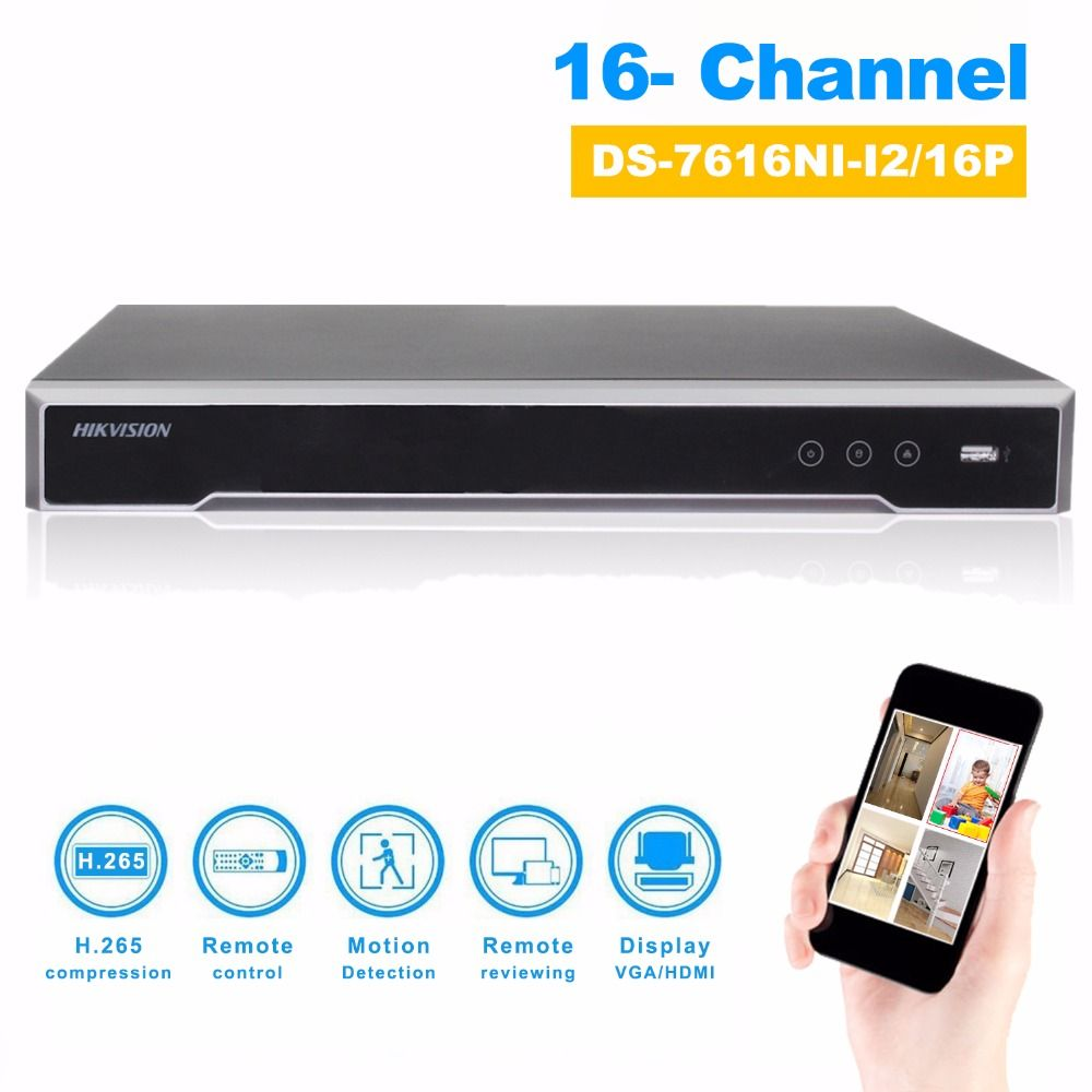 DS-7616NI-I2/16P English version H.265 16Channel NVR with 2SATA and 16 POE ports HDMI VGA plug & play NVR POE 16ch VCA