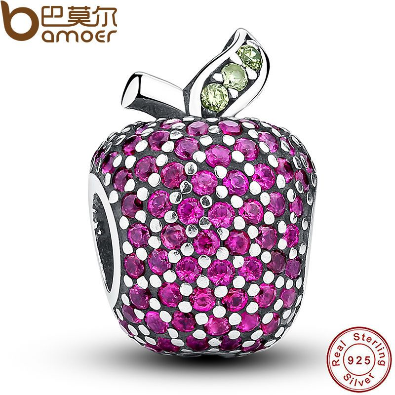 NEW Stunning 925 Sterling Silver Red Pave Apple Fancy Red CZ & Green Crystal Charm Fit Bracelet Jewelry Making PAS022